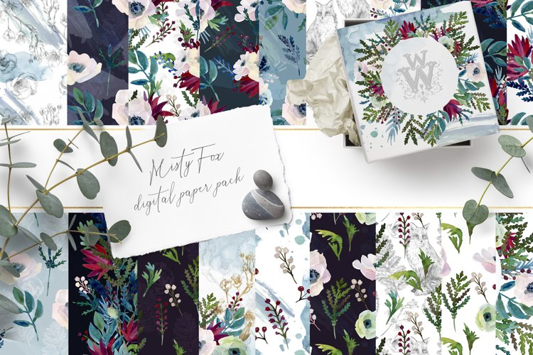 Watercolor floral digital paper, forest flower template