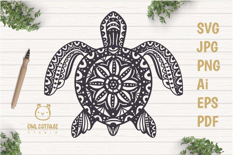 Turtle Mandala Svg Cut File, Turtle Svg, SeaTattoo Design example image 1