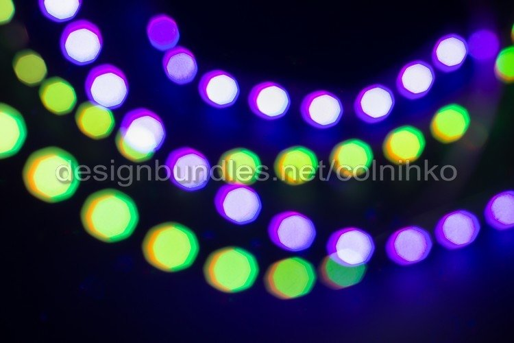 Purple green neon blurry bokeh lights example image 1