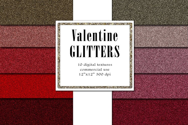 Valentine Glitters, Blush Red Textures, Romantic Paper example image 1