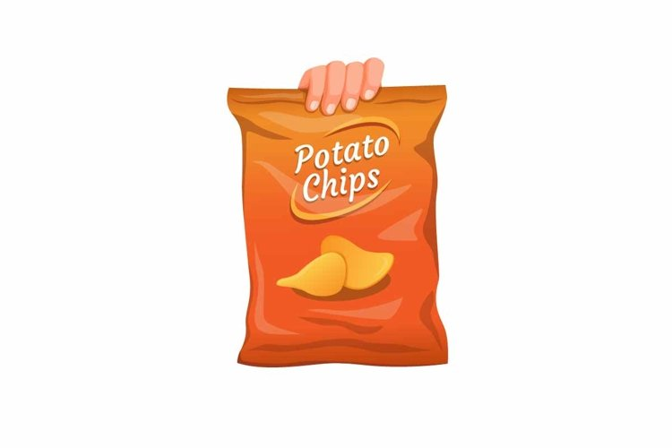 hand grab large pack size potato snack cartoon vector example image 1