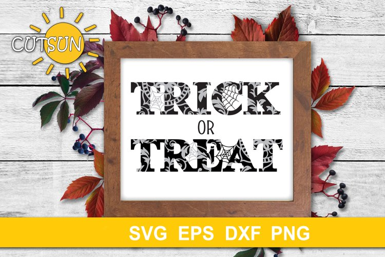 Halloween SVG | Trick Or Treat SVG | Trick Or Treat Floral example image 1