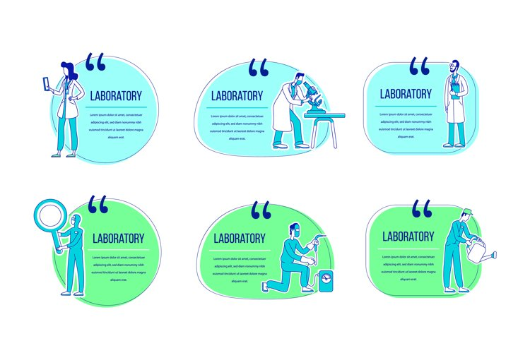 Laboratory flat silhouette vector character quotes set example image 1