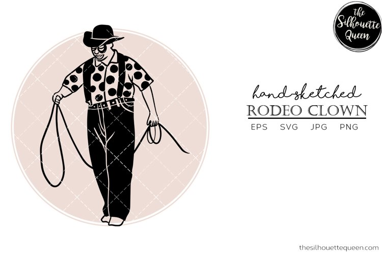 Hand drawn Rodeo Clown Vector Sketch example image 1