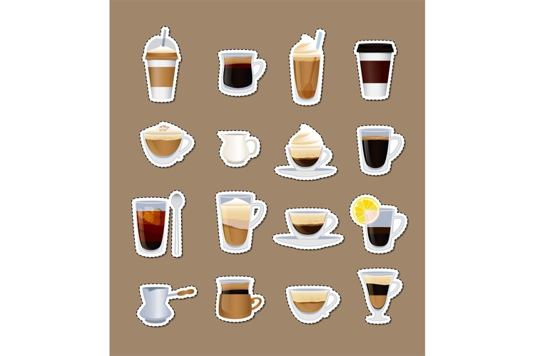 Vector coffee types stickers isolated example image 1