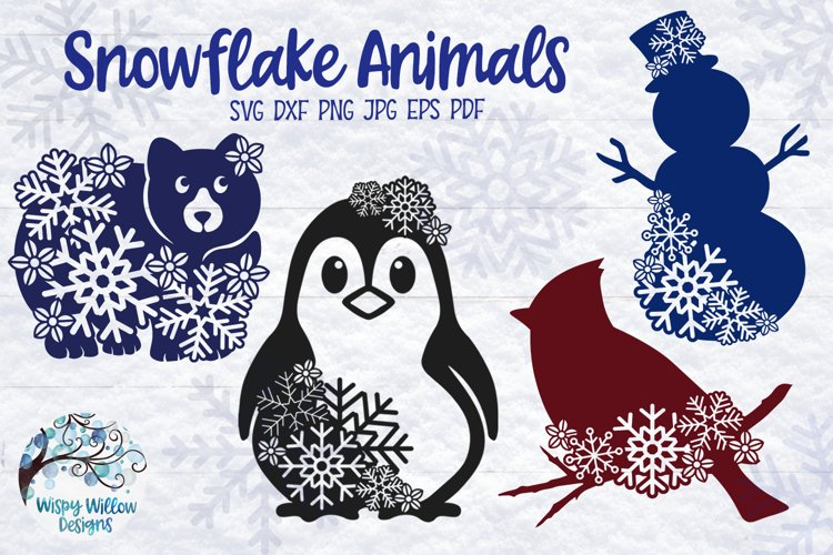 Snowflake Animal SVG Bundle   Winter Animal SVG Cut Files example image 1