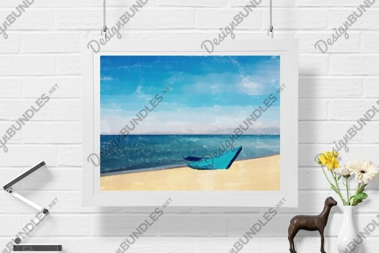 Boat And Sea - Watercolor - Wall Art - Digital Print example image 1