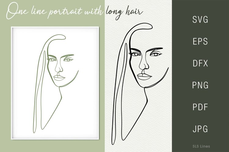 One line portrait illustration SVG PNG Face 2 example image 1