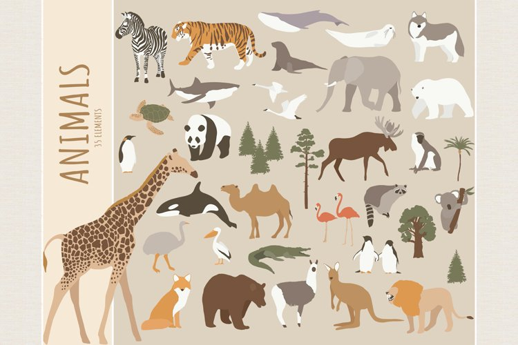 World animals clipart. SVG, PNG example image 1