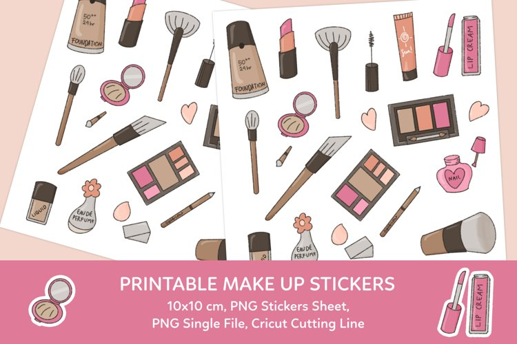 Make Up Printable Stickers Sheet example image 1