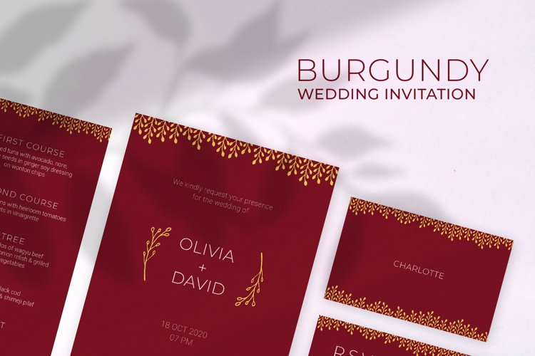 Burgundy Wedding Invitation example image 1