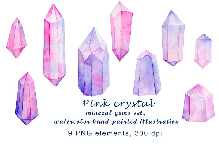 pink crystal mineral gems set, watercolor hand painted example image 1