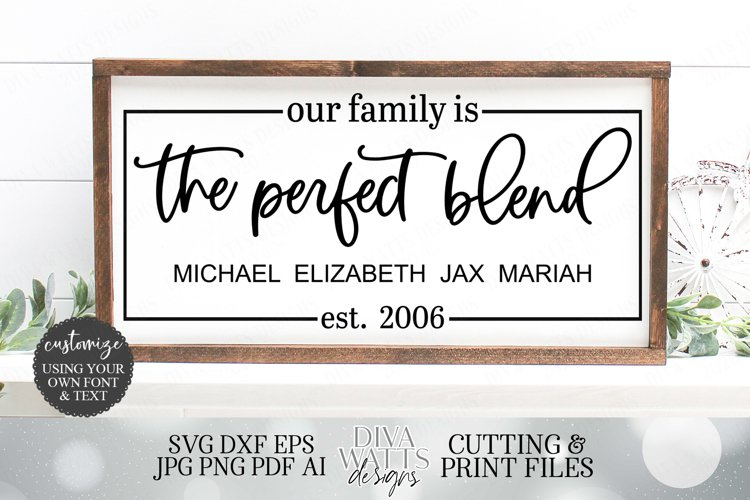 Our Family Is The Perfect Blend - Blended Family SVG DXF JPG