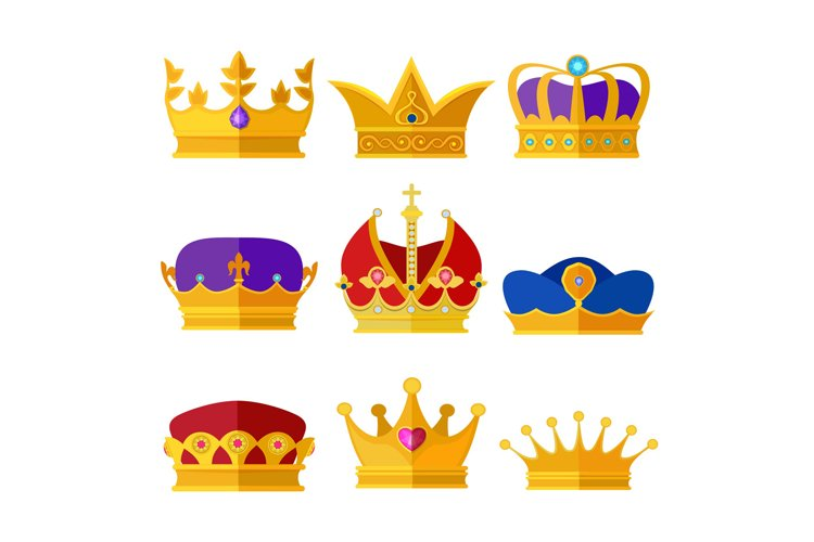 Golden crowns of kings, prince or queen. Vector illustration example image 1
