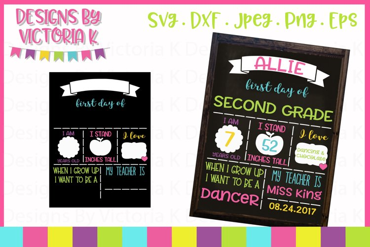 First day of school board, chalkboard style SVG Cut File example image 1