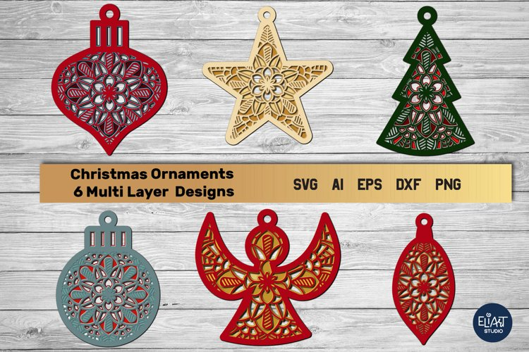 Christmas Ornaments SVG Bundle Multi Layer | 3D Layered SVG example image 1