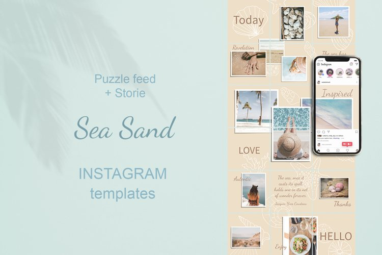 Puzzle Instagram Template. Sea Sand example image 1