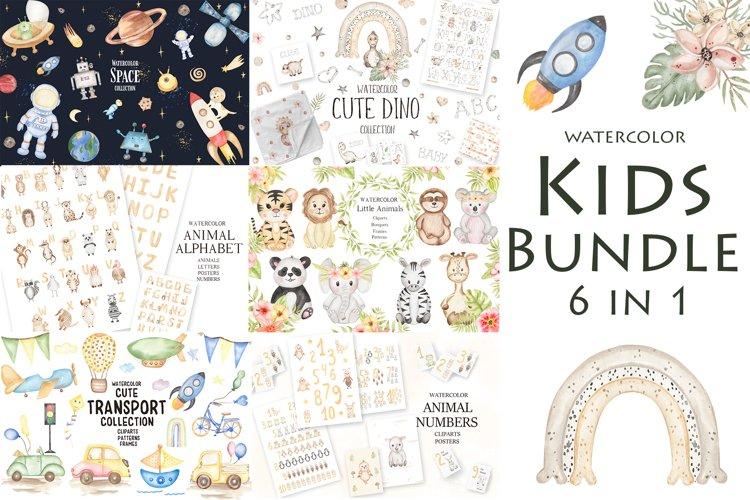 Watercolor Kids Bundle 6 in 1 example image 1