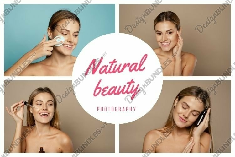4 photos of a young beautiful girl. Natural natural beauty.
