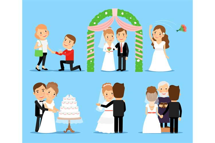 Wedding party vector characters example image 1