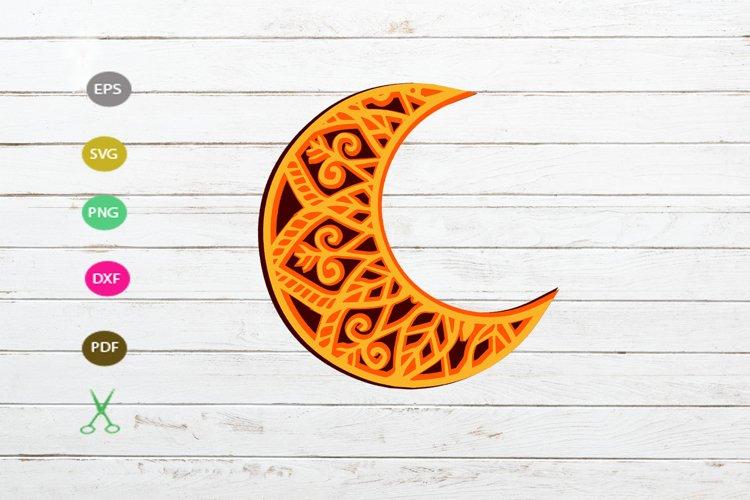 moon 3D svg,mandala moon svg,moon clipart svg,moon design example image 1