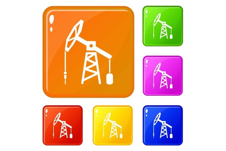 Oil rig icons set vector color example image 1