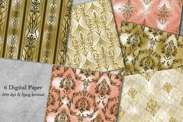 Damask Patterns. Seamless Digital Papers. Scrapbook paper example image 1