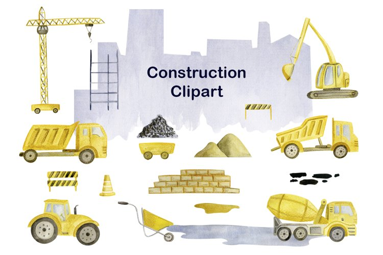 Watercolor Construction Clipart, Cityscape png, vechicles example image 1