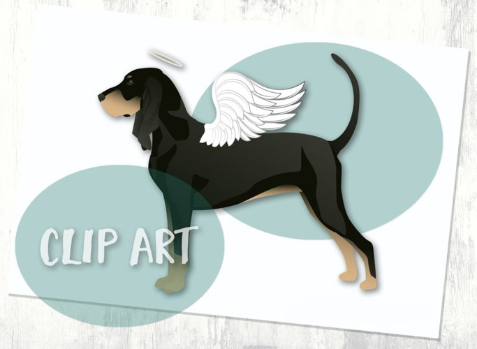 Black and Tan Coonhound Angel Clip Art example image 1