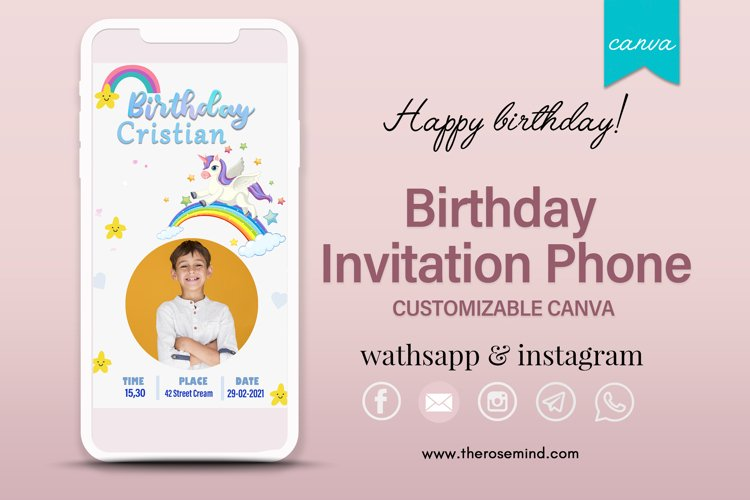 Birthday invitation, editable Canva example image 1