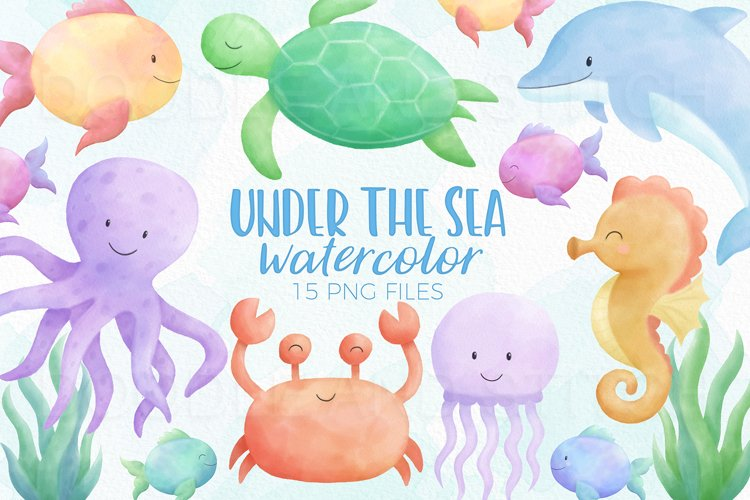 Under the Sea Watercolor Clipart Illustrations