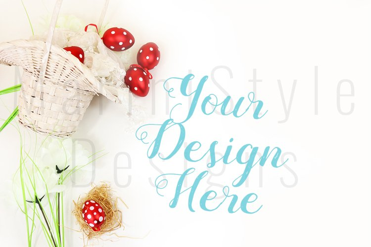 Spring Easter Mockup, White Background with Easter eggs 460
