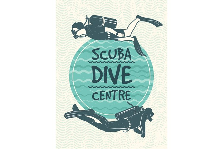 Retro poster for sport club of diving. Vector design templat example image 1