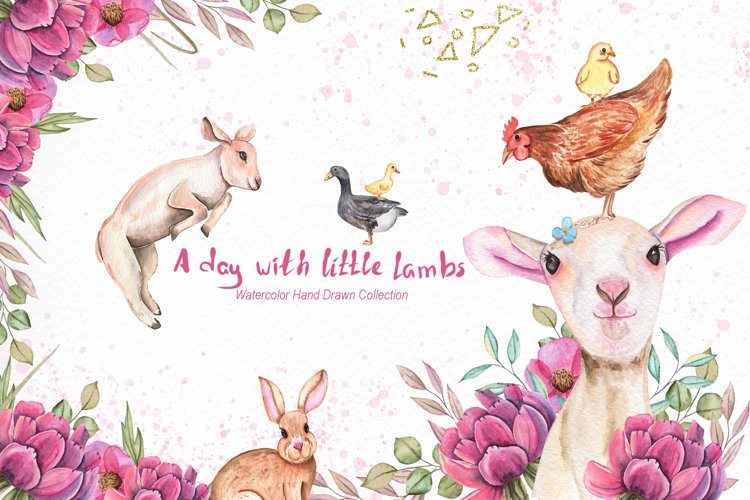 Watercolor Day with little Lambs