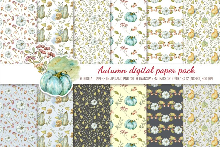 Watercolor Autumn digital paper pack. Cute seamless pattern example image 1