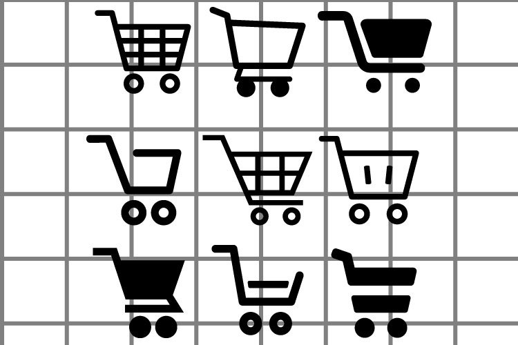 Shopping cart vector icon. basket illustration signs set.