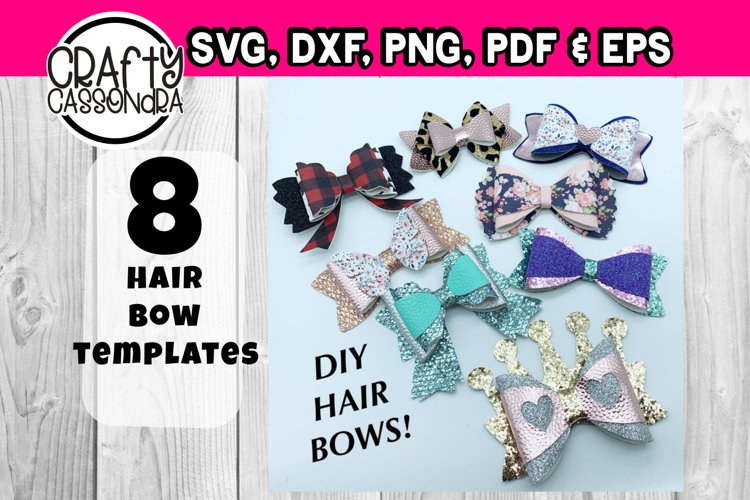 Hair bow svg - template bundle #4 - faux leather diy bow example image 1