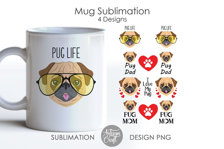 Pug Dog, Mug Sublimation Design, mug wrap