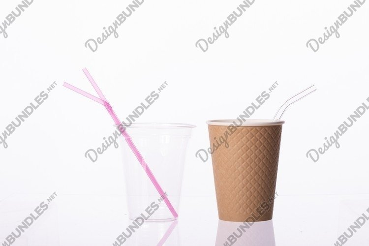 Zero waste concept. biodegradable drinking set, plastic cup example image 1