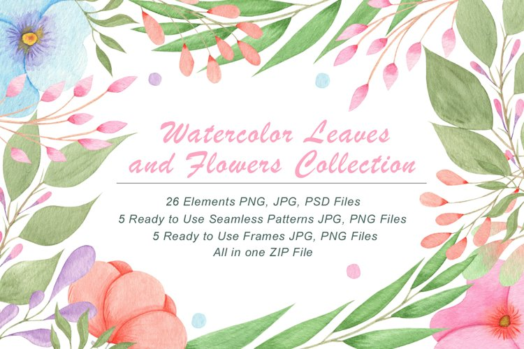 Watercolor Flowers and Leaves example
