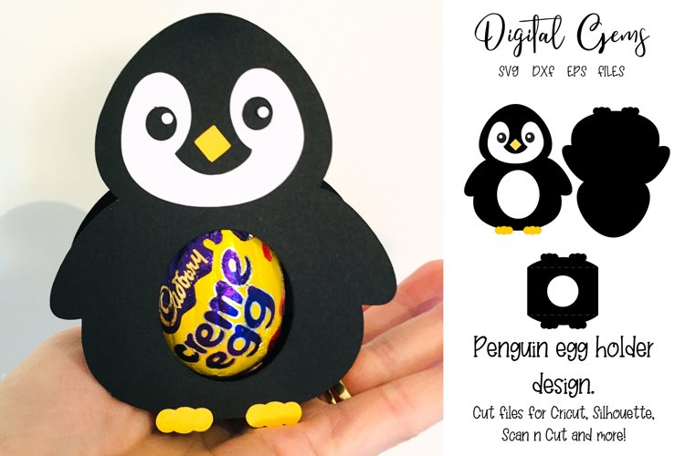 Penguin Easter / Christmas egg holder design SVG / DXF / EPS example image 1