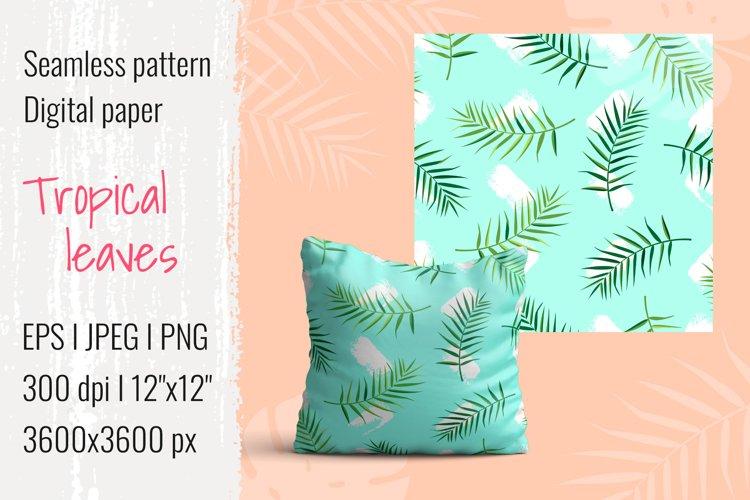 Tropical leaves pattern I Digital paper I EPS JPEG PNG example image 1