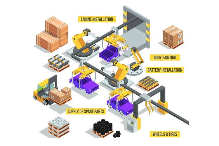 Car industry. Factory with auto production phases. Vector is example image 1
