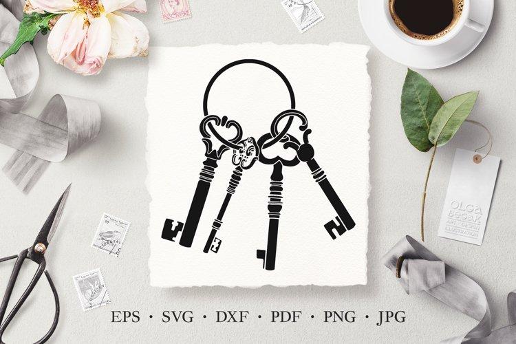 Keys Hand Drawn Stencil Vector SVG Illustration