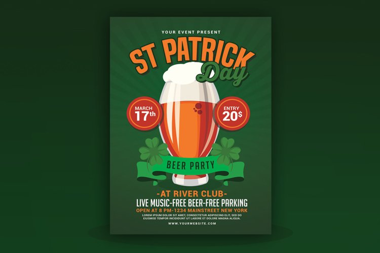 St Patricks Day Beer Party Flyer example image 1