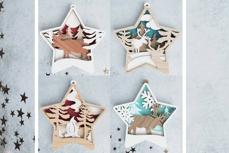 Christmas ornament laser cut file Bundle - deer in the woods example image 1