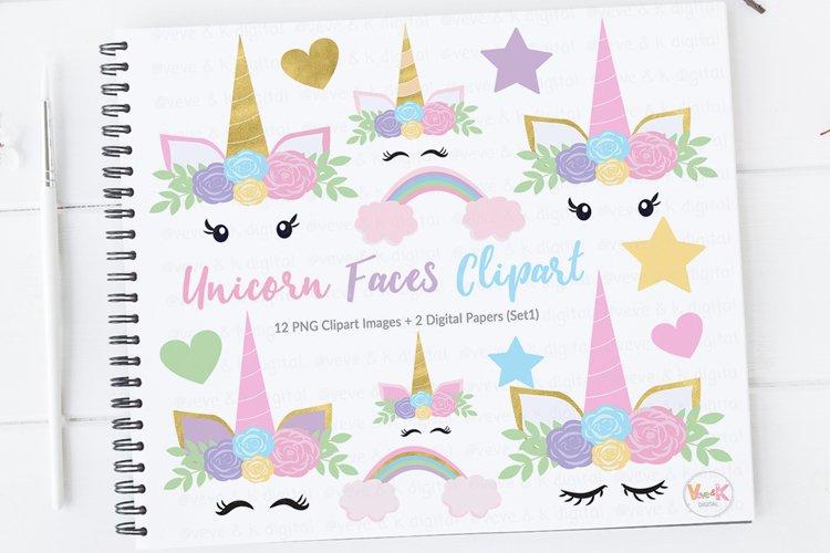 Unicorn Face Clipart, Unicorns Clipart, Gold Glitter Unicorns, Pastel Rainbow Unicorn Clipart, Rainbow Clipart, Unicorn Graphics, Unicorns