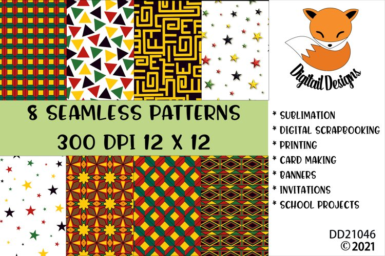 Black History African Digital Papers Seamless Patterns