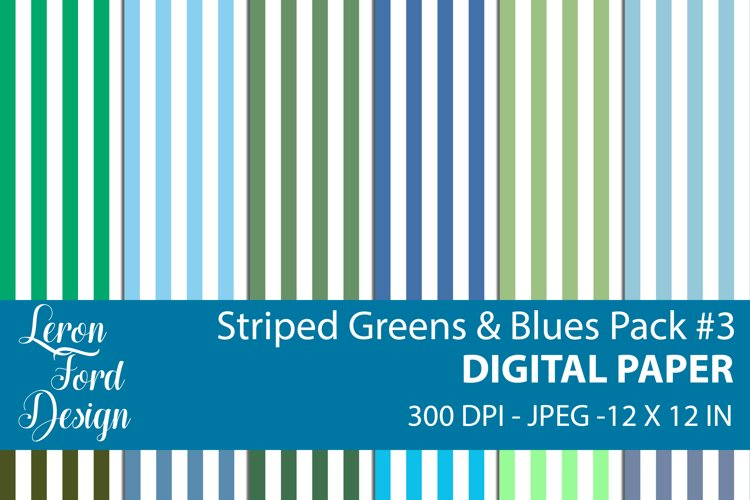 Striped Blues & Greens Pack #3 Digital Paper example image 1