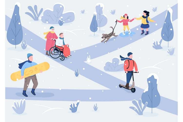 Winter parkland flat color vector illustration example image 1
